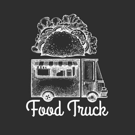 Street food van logo template. Hand drawn vector truck with fast food illustration on chalk board. Engraved style tacos truck vintage design. Ilustração
