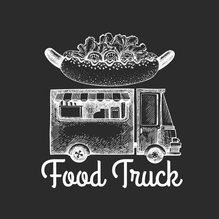 Street food van logo template. Hand drawn vector truck with fast food illustration on chalk board. Engraved style hot dog truck vintage design.