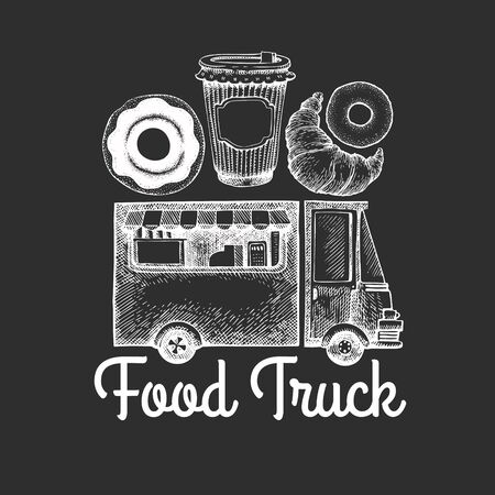 Street food coffee van logo template. Hand drawn vector truck with fast food pastry illustrations on chalk board. Engraved style donuts and croissant truck vintage design.