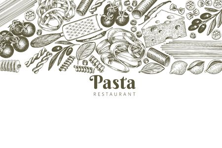 Italian pasta with addition design template. Hand drawn vector food illustration. Engraved style. Retro pasta different kinds background.