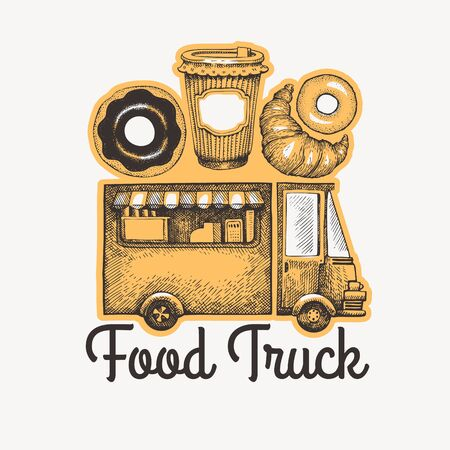 Street food coffee van logo template. Hand drawn vector truck with fast food pastry illustrations. Engraved style donuts and croissant truck vintage design.