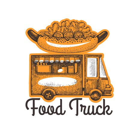 Street food van logo template. Hand drawn vector truck with fast food illustration. Engraved style hot dog truck vintage design.