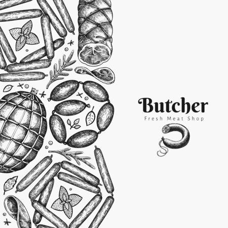 Retro vector meat products design template. Hand drawn ham, wurst, sausages, spices and herbs. Vintage illustration. Ilustração