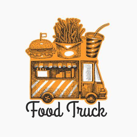 Street food van logo template. Hand drawn vector truck with fast food illustration. Engraved style vintage design. Ilustração