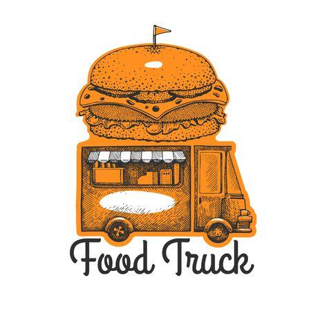 Street food burger van logo template. Hand drawn vector truck with fast food illustration. Engraved style hamburger truck vintage design.