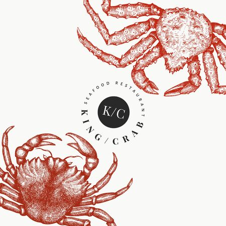 Crab design template. Hand drawn vector seafood illustration. Engraved style crustacean. Retro lobster banner.