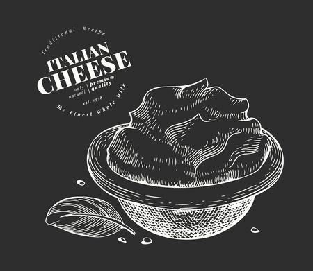 Italian mascarpone illustration. Hand drawn vector dairy illustration. Engraved style cream cheese. Retro food illustration.