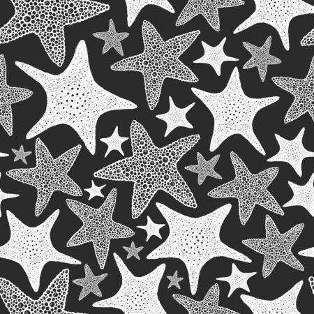Seastars seamless pattern. Hand drawn vector marine animals illustrations on chalk board. Engraved style sea stars. Vintage sea background.