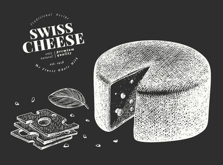 Swiss cheese illustration. Hand drawn vector dairy illustration on chalk board. Engraved style emmental head. Retro food illustration. Ilustração