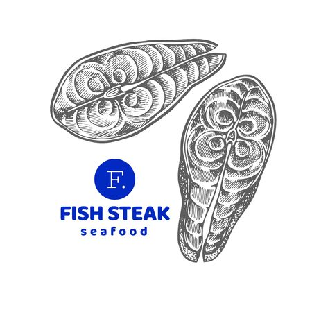 Fish steaks illustrations. Hand drawn vector seafood illustration. Engraved style. Retro food, piece of salmon or trout