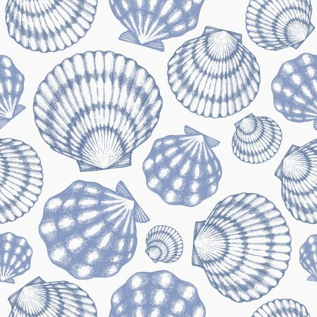 Scallop seamless pattern. Hand drawn vector seafood illustration. Engraved style seashell. Vintage mollusk background. Pearl shell illustration Stock fotó - 138444468