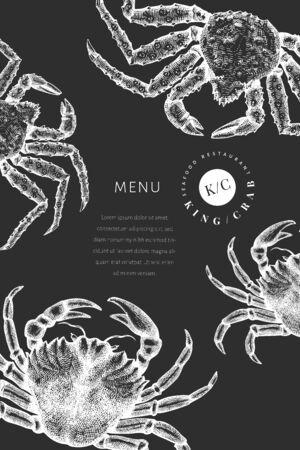Crab design template. Hand drawn vector seafood illustration on chalk board. Engraved style crustacean. Retro lobster banner. Illusztráció