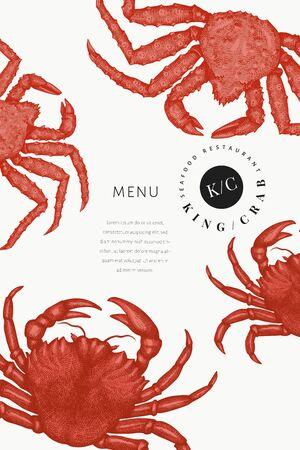 Crab design template. Hand drawn vector seafood illustration. Engraved style crustaceanl. Retro lobster banner. Illusztráció