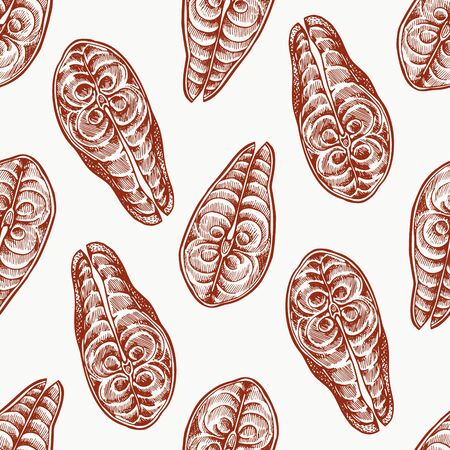 Fish steaks seamless pattern. Hand drawn vector seafood illustration. Engraved style food. Retro piece of salmon or trout background 向量圖像
