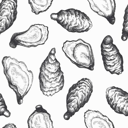 Oysters seamless pattern. Hand drawn vector seafood illustration. Engraved style mollusks. Vintage food background