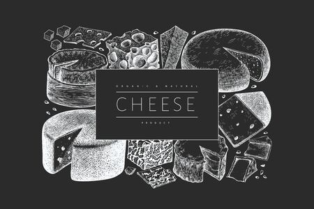 Cheese design template. Hand drawn vector dairy illustration on chalk board. Engraved style different cheese kinds banner. Retro food background.