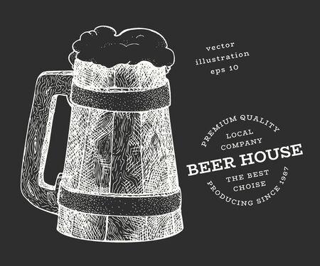 Beer mug illustration. Hand drawn vector pub beverage illustration on chalk board. Engraved style. Vintage brewery illustration.