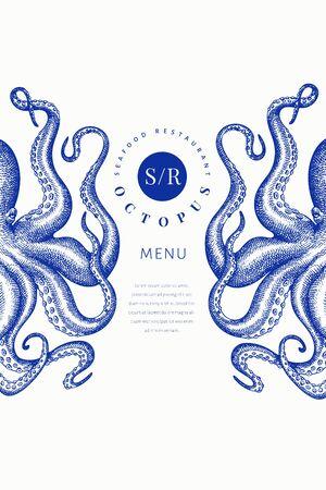 Modello di banner colorato di polpo. Illustrazione di pesce di vettore disegnato a mano. Calamaro in stile inciso. Menu design vintage