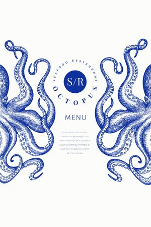 Octopus colored banner template. Hand drawn vector seafood illustration. Engraved style squid. Vintage menu design