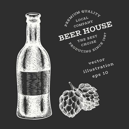Beer bottle, glass and hop illustration. Hand drawn vector pub beverage illustration on chalk board. Engraved style. Vintage brewery illustration.