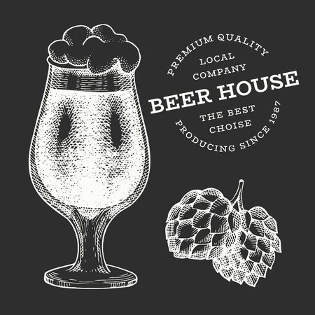 Beer glass and hop illustration. Hand drawn vector pub beverage illustration on chalk board. Engraved style. Vintage brewery illustration.