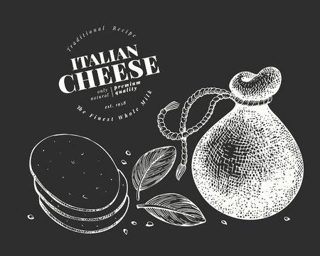 Italian cheese illustration. Hand drawn vector dairy illustration on chalk board. Engraved style provolone head. Retro food illustration.