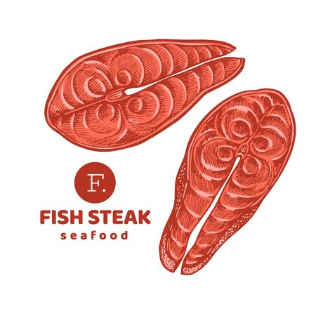Fish steaks colored illustrations. Hand drawn vector seafood illustration. Engraved style. Retro food, piece of salmon or trout