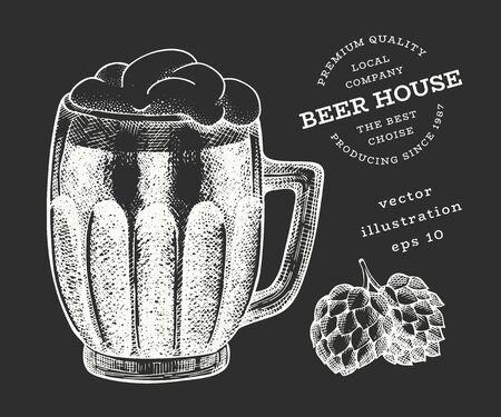 Beer glass mug and hop illustration. Hand drawn vector pub beverage illustration on chalk board. Engraved style. Vintage brewery illustration.