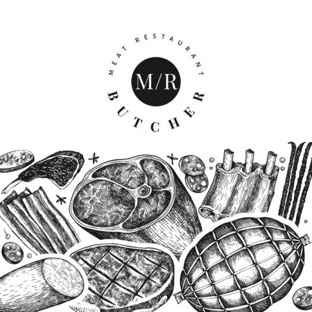 Retro vector meat products design template. Hand drawn ham, sausages, jamon, spices and herbs. Raw food ingredients. Retro illustration. Can be use for restaurant menu. Ilustração