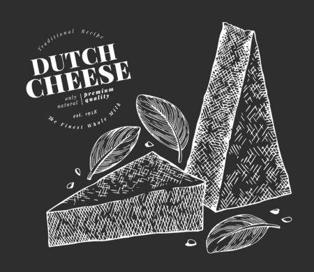 Dutch cheese illustration. Hand drawn vector dairy illustration on chalk board. Engraved style gouda triangle slice cut. Retro food illustration. Ilustração
