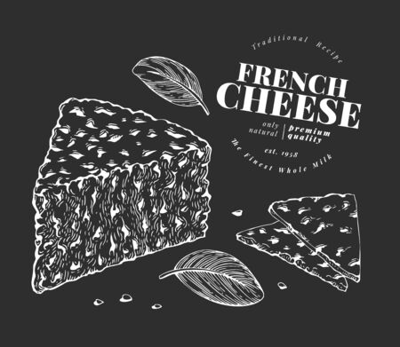 French cheese illustration. Hand drawn vector blue cheese illustration on chalk board. Engraved style gorgonzola. Retro roquefort cheese illustration.