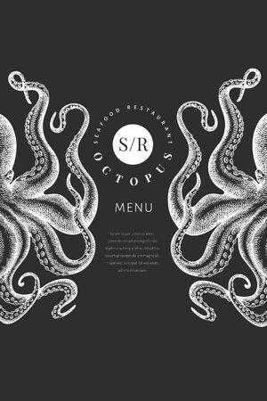 Octopus colored banner template. Hand drawn vector seafood illustration on chalk board. Engraved style squid. Vintage menu design Ilustração