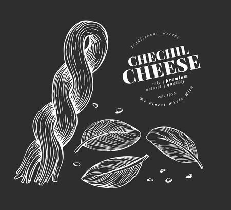 Armenian cheese illustration. Hand drawn vector dairy illustration on chalk board. Engraved style cheese pigtail. Retro chechil illustration. Ilustração