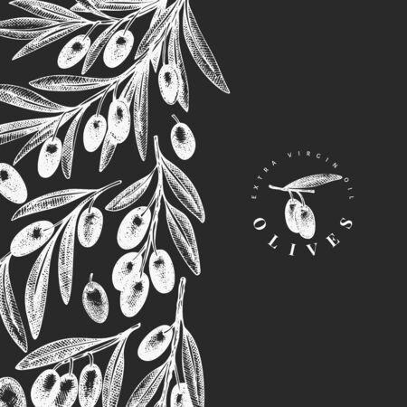 Olive branch design template. Hand drawn vector food illustration on chalk board. Engraved style mediterranean plant. Vintage botanical picture. Ilustração