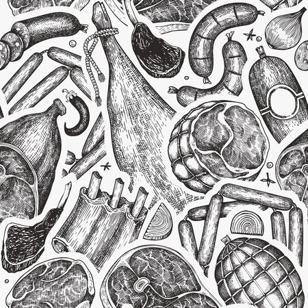 Retro vector meat products seamless pattern. Hand drawn ham, sausages, steak, jamon, spices and herbs. Raw food ingredients. Vintage illustration. Can be use for label, restaurant menu.