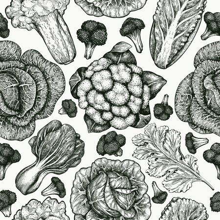Hand drawn sketch vegetables. Organic fresh food vector seamless pattern. Vintage vegetable background. Engraved style botanical illustrations.