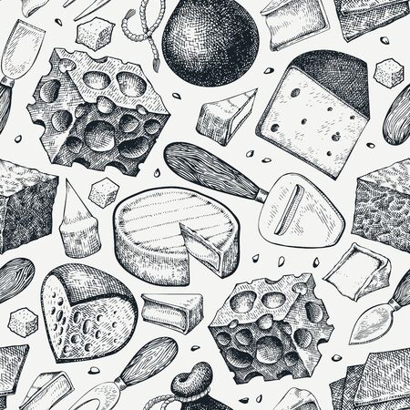 Cheese seamless pattern. Hand drawn vector dairy illustration. Engraved style different cheese kinds banner. Retro food background.