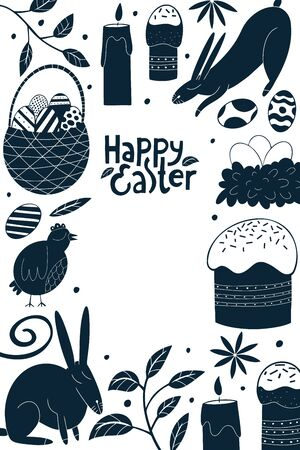 Happy Easter design template. Spring holiday concept vector illustrations. Chicken, rabbit, flowers, cakes and eggs. Can be use for easter holiday decoration and spring greeting cards.  イラスト・ベクター素材