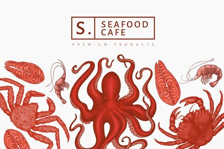 Seafood design template. Hand drawn vector seafood illustration. Engraved style food banner. Vintage sea animals background  イラスト・ベクター素材