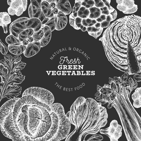 Hand drawn sketch vegetables design. Organic fresh food vector banner template. Vintage vegetable background. Engraved style botanical illustrations on chalk board.  イラスト・ベクター素材