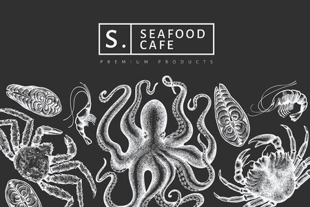 Seafood design template. Hand drawn vector seafood illustration on chalk board. Engraved style food banner. Vintage sea animals background