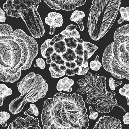 Hand drawn sketch vegetables. Organic fresh food vector seamless pattern. Vintage vegetable background. Engraved style botanical illustrations on chalk board.  イラスト・ベクター素材