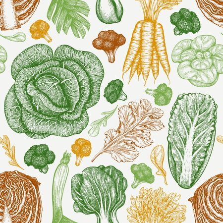 Hand drawn sketch vegetables. Organic fresh food vector seamless pattern. Vintage vegetable background. Engraved style botanical illustrations.  イラスト・ベクター素材