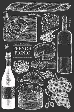 French food illustration set. Hand drawn vector picnic meal illustrations on chalk board. Engraved style different snack and wine. Retro food background.
