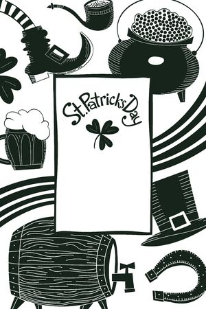 Irish vector background. Hand drawn St. Patricks Day design template. Leprechaun hat, clover, beer mug, barrel, golden coin pot illustrations.