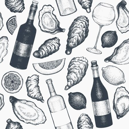 Oysters and wine seamless pattern. Hand drawn vector illustration. Seafood background. Can be used for design menu, packaging, recipes, fish market, seafood products.  イラスト・ベクター素材