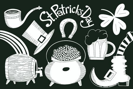 Irish vector illustrations set. Hand drawn leprechaun hat, clover, beer mug, barrel, golden coin pot illustration set for St. Patricks Day.  イラスト・ベクター素材