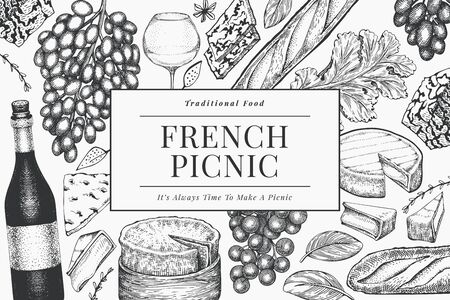 French food illustration design template. Hand drawn vector picnic meal illustrations. Engraved style different snack and wine banner. Retro food background.