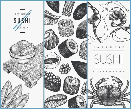 Japanese cuisine design template. Sushi hand drawn vector illustrations. Vintage style sian food background.  イラスト・ベクター素材
