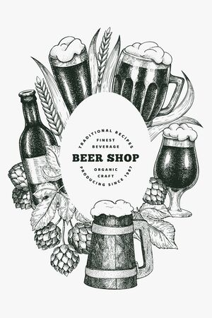 Beer glass mug and hop design template. Hand drawn vector pub beverage illustration. Engraved style. Vintage brewery illustration.